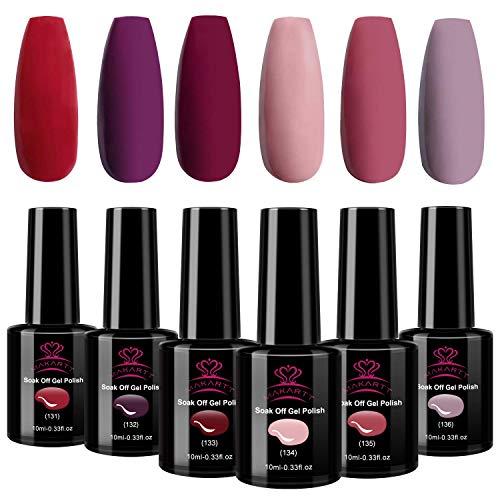 Makartt Red Gel Nail Polish Kit, Summer Nail Gel Polish Red Peach Pink Purple Bright Gel Polish Colors Set Soak Off Nail Lamp Gel 10ml Nail Art Polish