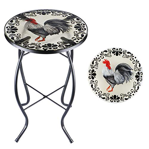 Outdoor Side Tables 14'' Round Accent Table Glass Metal Side Table Plant Stand Decor for Garden, Balcony Indoor Use