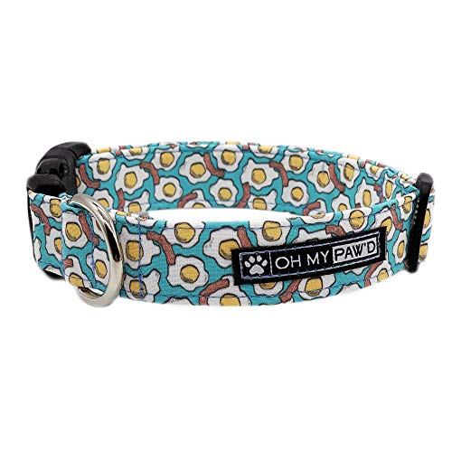 Eggs and Bacon Collar for Pets Size Medium with Extra Width 1 Inch Wide and 14-20 Inches Long - Hand Made Dog Collar by Oh My Paw'd