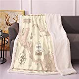 Vintage Cartography Fleece Blanket,Carribean Sea Pirate Routes Fantasy Antique Flannel Bed Blankets,Fluffy Throw Blanket(60x80 Inches,Pale Peach Eggshell)