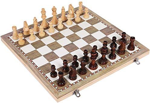 xiegons0 3 in 1 Holz Schachspiel & Dame & Backgammon Set mit Faltbar Tragetasche Faltbar und Reise Schachbrett für Erwachsene Kinder - Wie Bild Show, 44x44