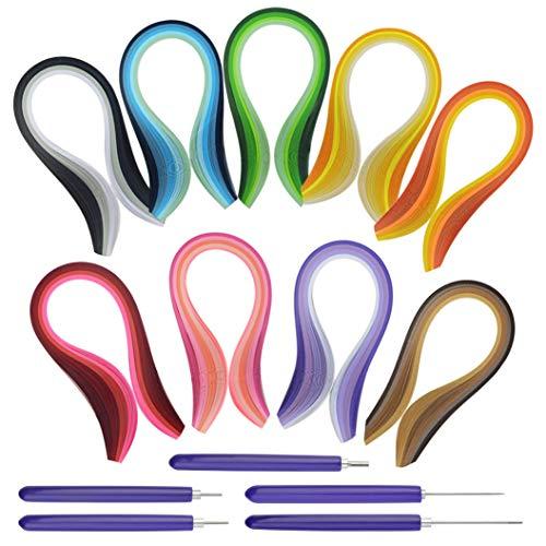 Bantoye Tiras de papel de 41 colores, 900 tiras de papel artístico con 5 herramientas de filigrana para manualidades, 3 mm