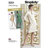 Simplicity 8254AA 1960S Vintage Robe pour Miss et Plus Tailles Patron de Couture, Blanc, Tailles 10–12–14–16–18