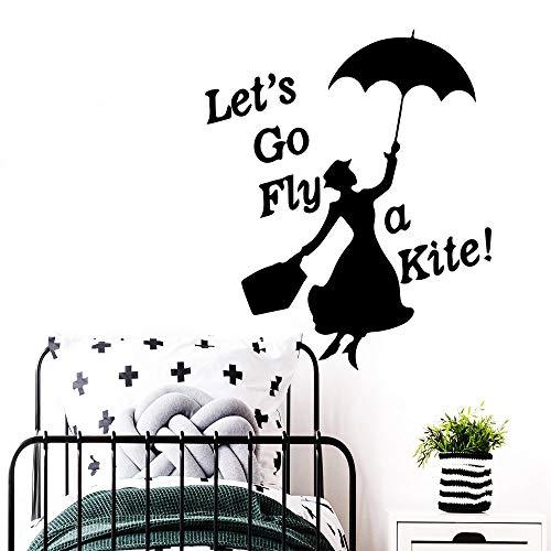 yaonuli Customize Let's Go Kite Sentence Muurstickers voor babykamer Vinyl Slaapkamer Muurstickers