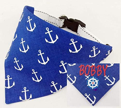 Hundehalstuch als Halsband Verstellbar optional mit Wunsch Namen bestickt Maritim blau Halstuch Tuch