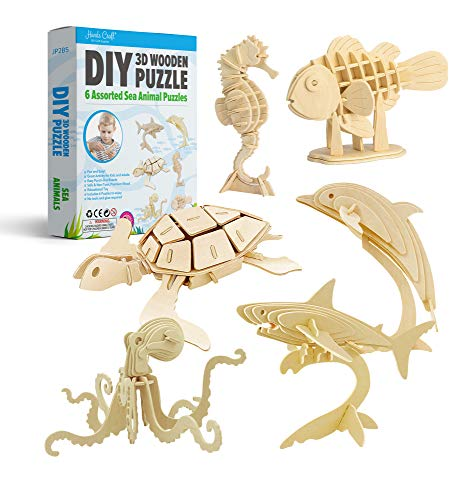Hands Craft DIY 3D Wooden Puzzle Bundle Set, Pack of 6 Sea Animals Brain Teaser Puzzles | Educational STEM Toy | Safe and Non-Toxic Easy Punch Out Premium Wood | (JP2B5)
