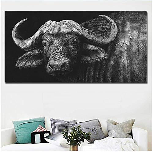 RuiChuangKeJi Canvas muurkunst moderne muurkunst buffel in houtskool gesneden zwart schilderij afdrukken op canvas foto's wooncultuur voor woonkamer 60x120cm(23.6x47.2in) Geen lijst