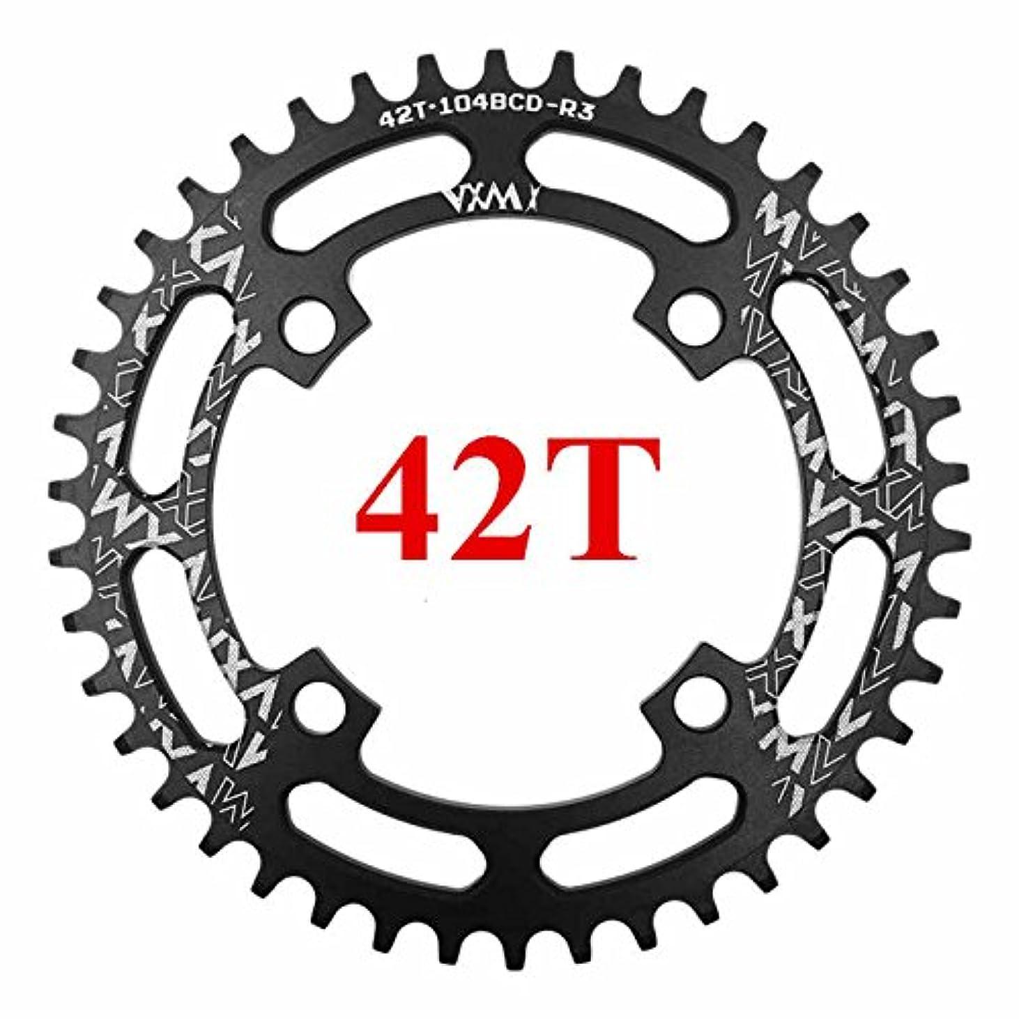 覆す売る東Propenary - 自転車104BCDクランクオーバルラウンド30T 32T 34T 36T 38T 40T 42T 44T 46T 48T 50T 52TチェーンホイールXT狭い広い自転車チェーンリング[ラウンド42Tブラック]