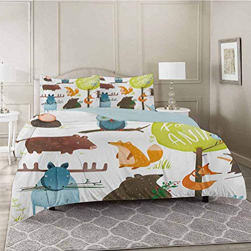 YUAZHOQI Washed Duvet Cover Set with Zipper Closure, Cartoon Style Animals Like Bear Deer Fox Owl Pig Mouse Squirrel and Rabbit Print, Ultra Soft Hypoallergenic Comforter Cover Sets, King Size