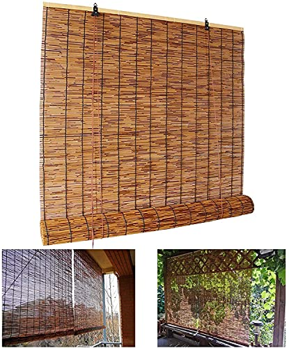 YAO YU Roll up Blind,Natural Reed Curtain,Bamboo Roller Shades,for Indoor/Outdoor,Lifting Sunshades,Retro Decoration Straw Curtain,Windows Shutters,50X60Cm/20X24In,50X60Cm/20X24In