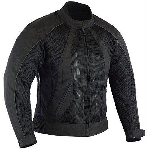 Australian Bikers Gear Die Damen Air Flow Mesh schwarz und Motorrad Jacke mit Abnehmbarer Wasserdicht & Thermo-Einlagen