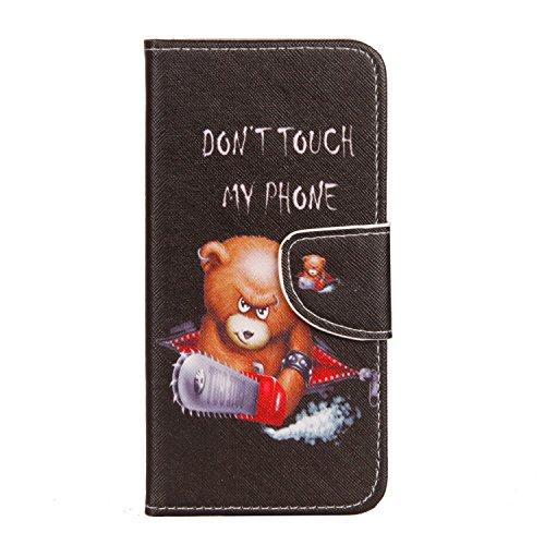HereMore Funda Xiaomi Mi A1, Folio Funda Piel Carcasa Libro de Cuero Flip Case Cubierta de Billetera con Cierre Magnético Soporte Plegable Protectora y Ranuras para Tarjetas para Xiaomi Mi A1 - Oso