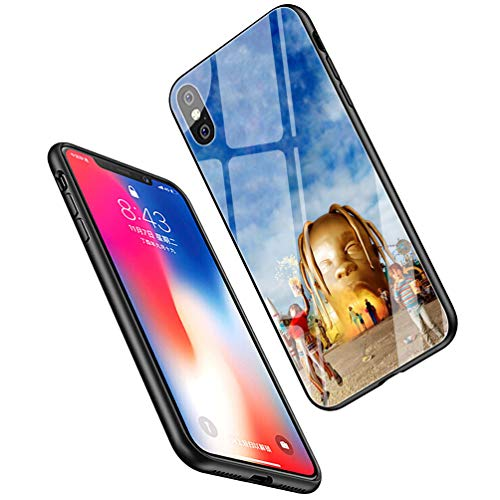LiangChu 9H Tempered Glass iPhone XR Cases, LC-125 Pop Travis Scott astroworld Design Printing Shockproof Anti-Scratch Soft Silicone TPU Cover Phone Case for Apple iPhone XR