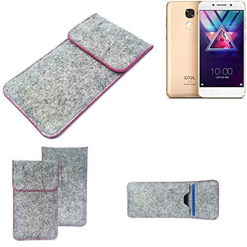 K-S-Trade Handy Schutz Hülle Für Coolpad Cool S1 Schutzhülle Handyhülle Filztasche Pouch Tasche Hülle Sleeve Filzhülle Hellgrau Pinker Rand