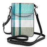 Goxegag Cartera multifuncional de piel para teléfono móvil, bolso de hombro pequeño, bolso de viaje con correa ajustable, para mujer, diseño de cuadros azules, color verde azulado