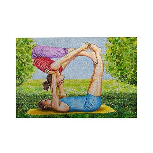 Yoliveya Sierra calar de 1000 Piezas,Pintura al óleo Hombre Mujer Haciendo Yoga,Juegos Rompecabezas imágenes para Adultos y niños Regalo graduación de Boda Familiar