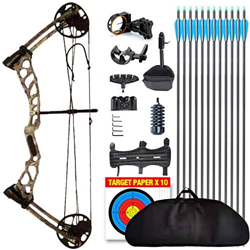 evercatch Youth Compound Bow for Hunting and Beginner,Junior Complete Set 15-40lb, Draw Length: 16-26.5', IBO: 280fps, Right Handed, Lightweight Design, Soft Bags (Camo Right Handed)
