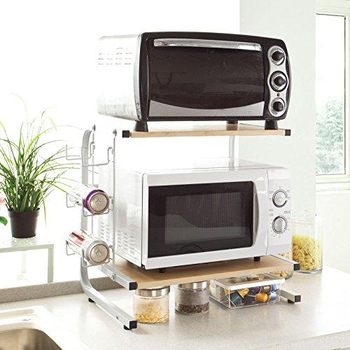 SoBuy FRG092-N Mikrowellenhalter Regal Küchenregal mit 2 Ablagen und 1 Flaschenhalter Miniregal Gewürzregal Natur BHT ca.: 52x51x25cm