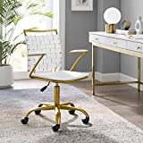 Modway Fuse Webbed Back Faux Leather and Gold Metal Adjustable Office Chair in White