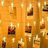 ストリングライト LEDイルミネーションライト、SIMPLE DO 20LED 写真クリップ DIY 壁飾り ソーラー充電式 間接照明 クリスマス/新年/結婚式/誕生日/パーティー飾り 雰囲気ライト(ウォームホワイト)