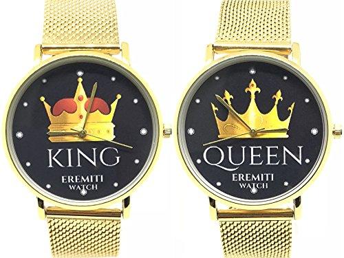 EREMITI JEWELS Orologio Watch Personalizzato Acciaio Inox Fidanzamento King And Queen Idea Regalo (Oro)