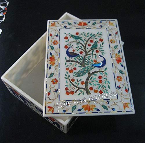 Pietra Dura Art - Joyero con piedras preciosas (20 x 25 cm)