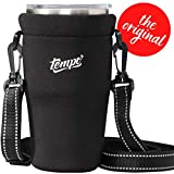 Tumbler Carrier Holder for 30oz - 32oz Tumblers, Reusable Tumbler Holder Pouch for Iced Coffee Cup, Neoprene Insulated Hand Carrying Cover Sleeve Bag w/Handle, Adjustable Shoulder Strap, Black