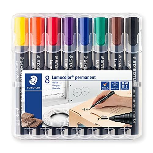 STAEDTLER Lumocolor 352 WP8 permanent marker, Rundspitze, 2 mm, aufstellbare Box mit 8 farben