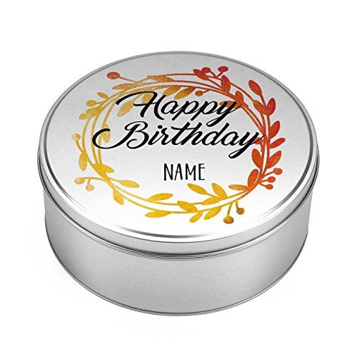 Herz & Heim® Geschenkdose zum Geburtstag - Happy Birthday - aus Metall mit Aufdruck des Namens