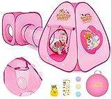 Peradix 3 en 1 Pop-up Tente avec Tunnel pour Enfant,Tunnel de Jeu pour Enfants,Cabane Jeu Tunnel Pliable intérieure extérieure,Cadeaux Tente Tunnel de d'anniversaire pour enfants 3 ans