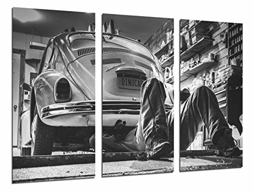 Cuadro Fotográfico Coche vintage, escarabajo blanco y negro Tamaño total: 97 x 62 cm XXL