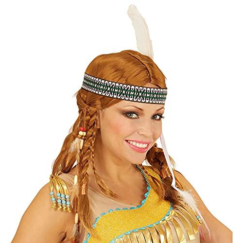 Widmann Sancto Chippewa Indian WIG W/Headband Accessory for Fancy Dress Costume