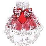FYMNSI Robe de fête pour bébé fille - Pour anniversaire, fête de baptême - Motif floral - Dentelle - Tutu - Princesse - Demoiselle d'honneur - Avec bandeau - Rouge - 3-4 ans