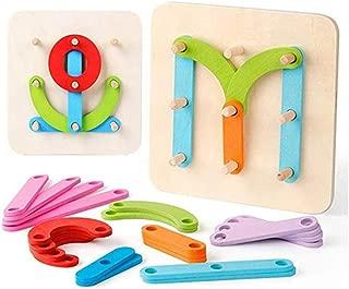 SZLhappyboy Wooden Letter Number Construction Activity Set, Educational Preschool Toddler Toys, Shape Color Recognition, Pegboard Number Sorter Board Blocks Stack Sort for Toddler Boys Girls