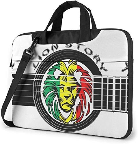 15.6 Inch Funda Bandolera Maletín para Portátil Maletín de Hombro para Negocio Viaje El León de Judá Rasta Rastafari Jamaica Reggae