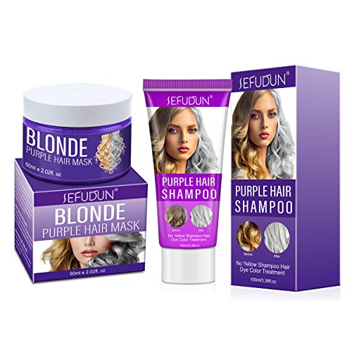 Purple Hair Shampoo and Conditioner Set, Removes Yellow Blonde Brassy Tones, Hair Mask Repairs Dry & Bleached Hair Keep Silver Grey Highlighted Hair