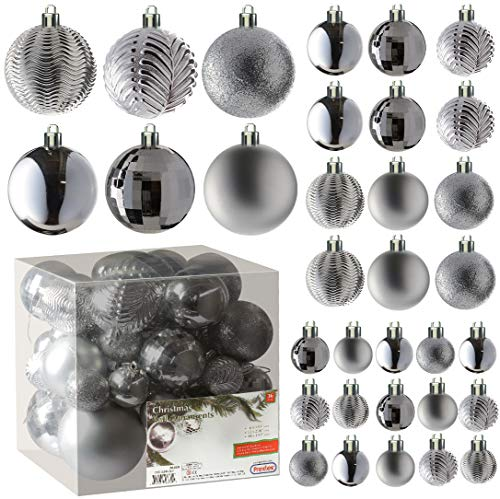 Silver Christmas Ball Ornaments for Christams Decorations - 36 Pieces Xmas Tree Shatterproof Ornaments with Hanging Loop for Holiday and Party Deocation (Combo of 6 Styles in 3 Sizes)