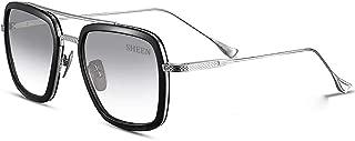 Retro Aviator Sunglasses Square Metal Frame for Men Women Sunglasses Classic Downey Tony Stark Gradient Lens