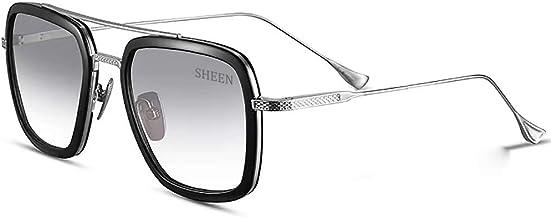 SHEEN KELLY Retro Sonnenbrille Tony Stark Brillen Quadratisc