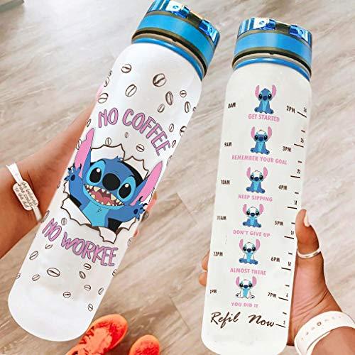 Pandro Botella de agua – Stitchy No Coffee No Workee 32 onzas no tóxica Tritan boca ancha a prueba de fugas botella de agua potable para fitness y exterior blanco 1000 ml