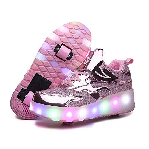 Zapatillas con Ruedas para Niñas y Niño LED Luces Zapatos con Ruedas 7 Colores USB Carga Luminosas Patines Calzado Deportivo al Aire Libre Gimnasia Zapatos de Skateboarding para Niños