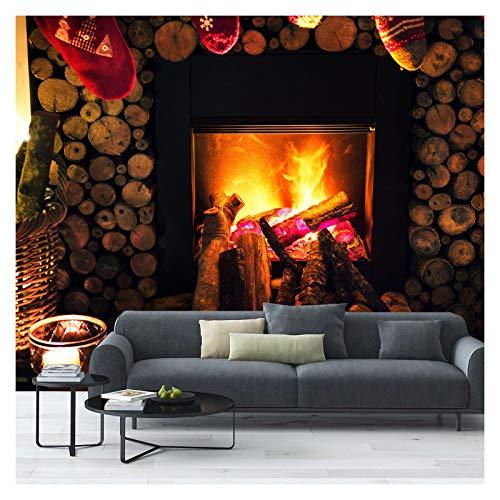 Fototapete mit Kamin-Holzscheiten und Flammen, 390 x 260 cm