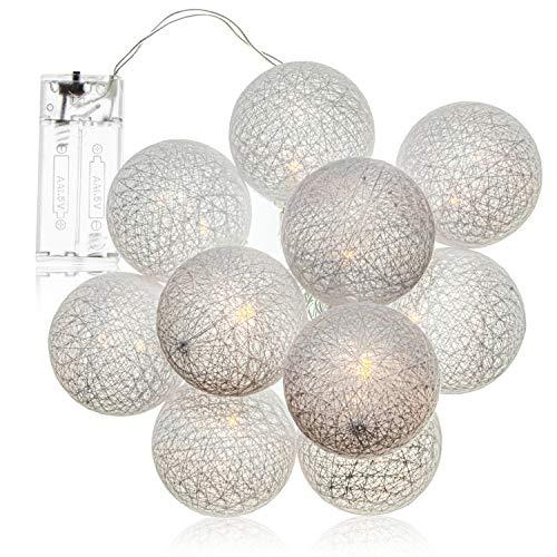 com-four® LED Lichterkette Kugel - Beleuchtung mit 10 LEDs im skandinavischen Dekor - Deko für Weihnachten, Geburtstag, Hochzeit oder Party
