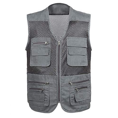 Sommer-Weste für Herren, dünner Abschnitt, Angeln, Fotografie, mehrere Taschen, Camouflage Gr. XXX-Large, grau