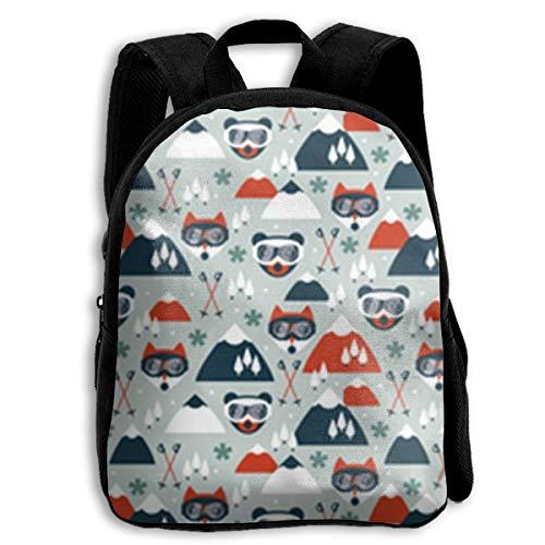 jenny-shop Retro Ski Fox Toddler Backpack 13 'Sacs à Dos d'école pour Enfants pour garçons et Filles