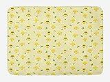 ABAKUHAUS Limones Tapete para Baño, Cítricos de Dibujos Animados Floral Fruta, Decorativo de Felpa Estampada con Dorso Antideslizante, 45 cm x 75 cm, Verde Lima Mostaza