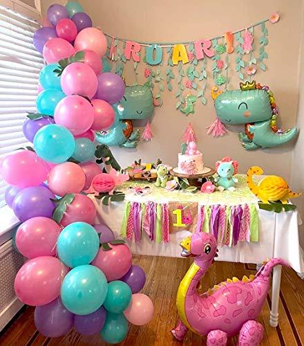 Heboland Dinosaurier Geburtstag Mädchen Ballon Girlande Ballonbogen Kit 5m Lange 102 Stücke Folien Dinosaurier Rosarot Lila Tiffany Rosa Ballons für Kinder Baby Party Deko