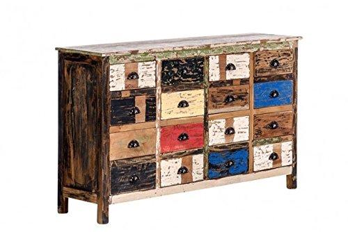 Kommode Teakholz 154x93x42cm Anrichte Schrank bunt used look Vintage Holzkommode