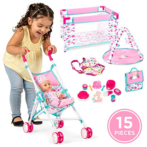 Best Choice Products Kids 15-Piece 13.5in Newborn Baby Doll Nursery Role Play Playset w/ Stroller, Travel Cot, Play Mat, Travel Bag, Carrier, Seat, Accessories