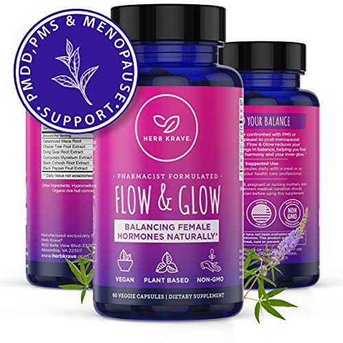 Flow and Glow 5-in-1 Premium Natural Hormone Balance Supplement for Women - PMS, PMDD Relief, Hot Flashes Menopause Relief, Hormonal Acne & Mood Support with Vitex Supplement for Women -60-Ct- Vegan